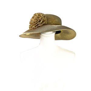 Vintage Gold Pleated Flower Derby Hat